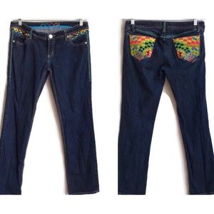 COOGI Embroidered Straight Leg Jeans
